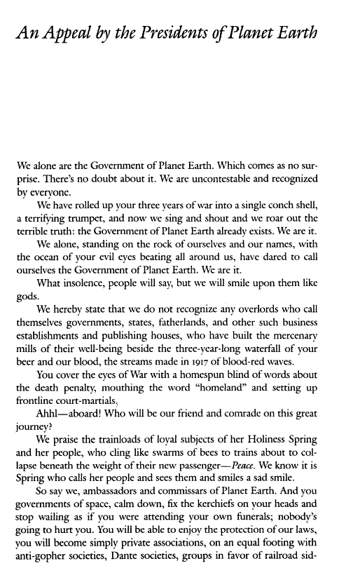 An appeal by the Presidents of Planet Earth, page 1